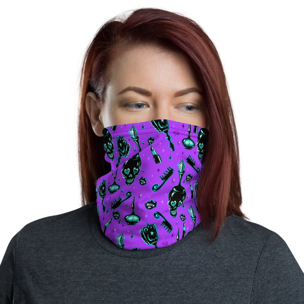 Elements of a Noir Boudoir Purple• Neck Gaiter Face Mask