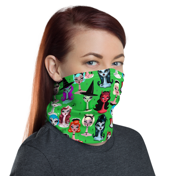 Spooky Dolls Green • Neck Gaiter Face Mask