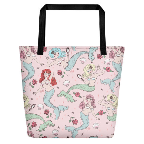 Mermaids and Roses on Pink • Beach Bag