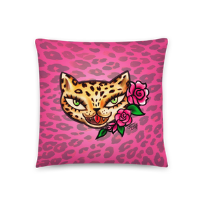 Lady Leopard Kitty • Throw Pillow