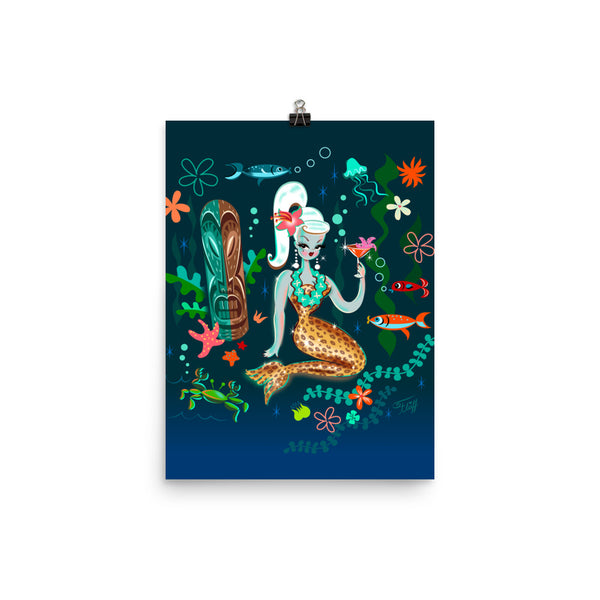 Blonde Leopard Martini Mermaid • Art Print