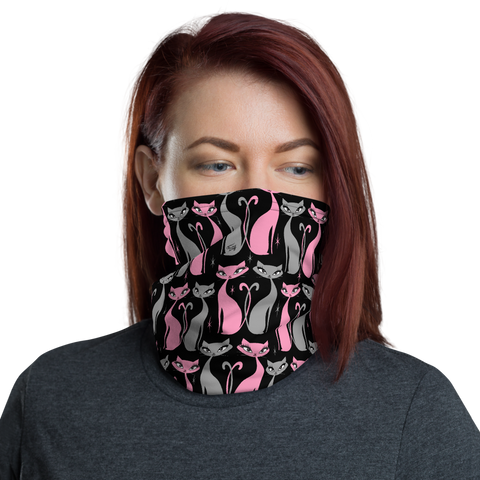 Mod Love Cats on Black • Neck Gaiter Face Mask