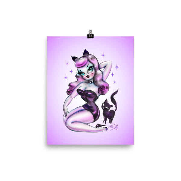 Purple Hair Kitten Pinup • Art Print