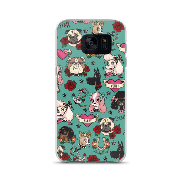 Tattoo Pooch on Teal • Samsung Case