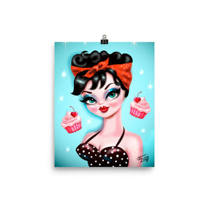 Rockabilly Girl with Red Bandana • Art Print