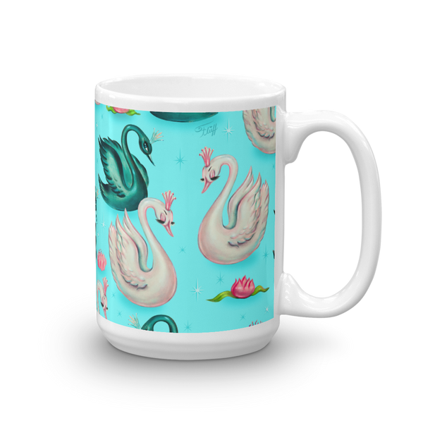 Swans with Tiaras on Aqua • Mug