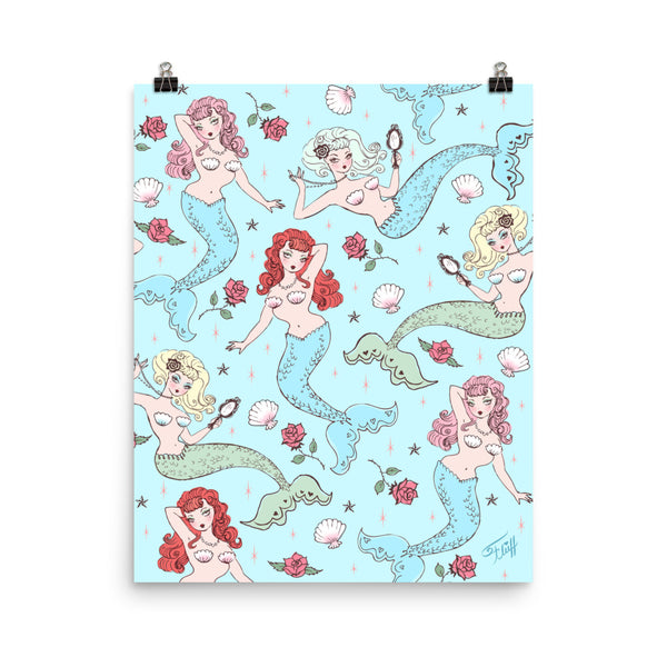 Mermaids and Roses on Aqua • Art Print