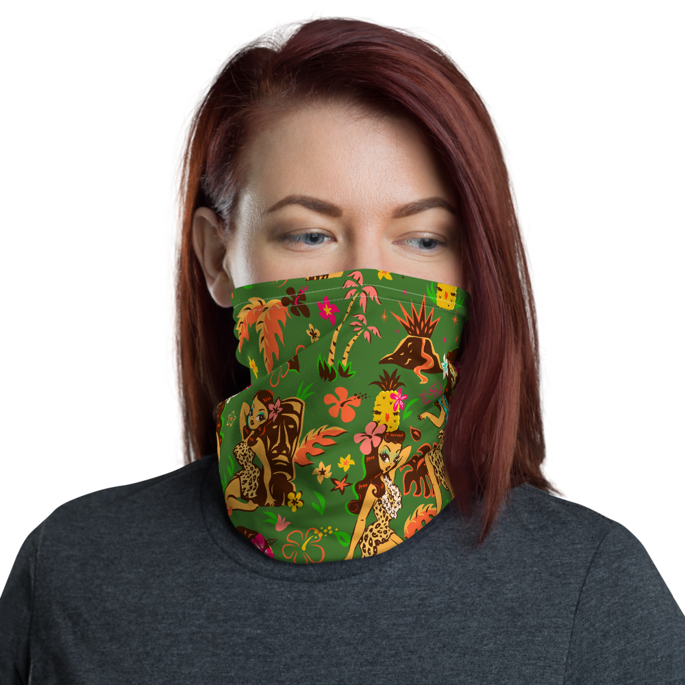 Tiki Temptress on Green • Neck Gaiter Face Mask