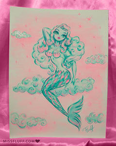Mint and Pink Mermaid Sitting on a Cloud- Original Drawing 9x12