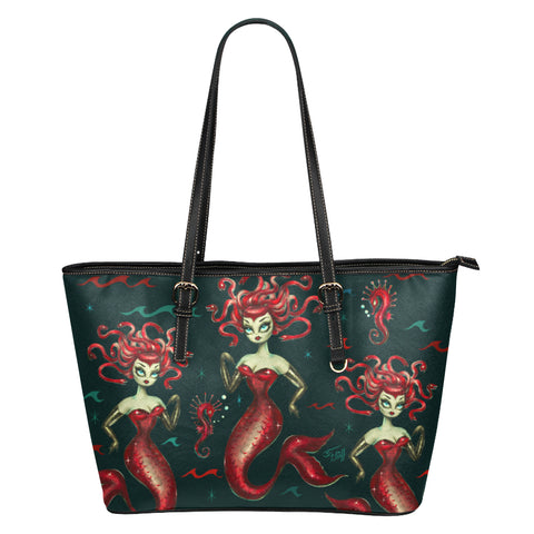 Red Medusa Mermaid • Faux Leather Tote Purse