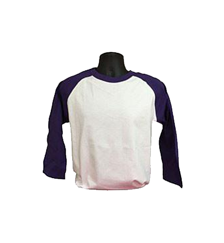 White and Purple Baseball Tee