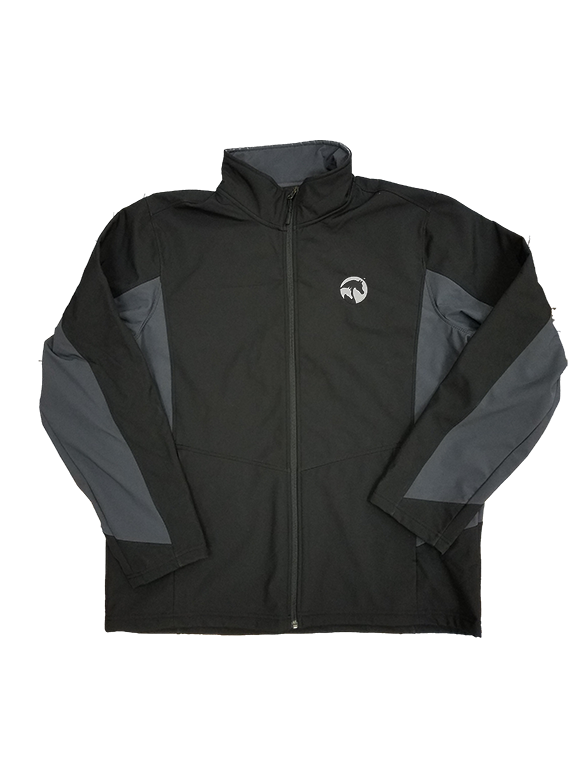 AHA core colorblock black and grey soft shell jaccket