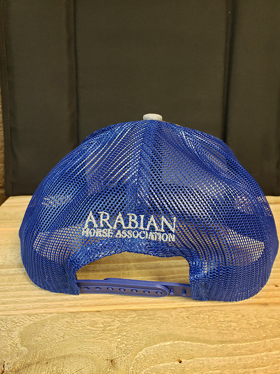 AHA standing horse patriot royal  Blue and Grey mesh structured cap