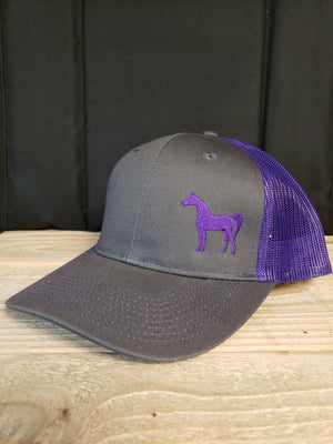 AHA standing horse purple and Grey mesh structured cap