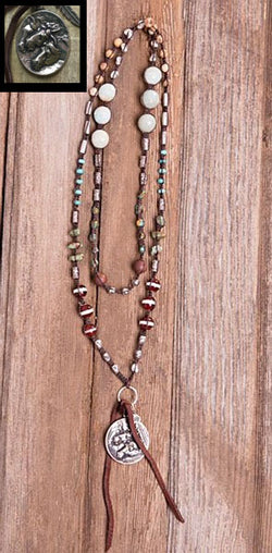 Multi Stone Leather Horse Necklace