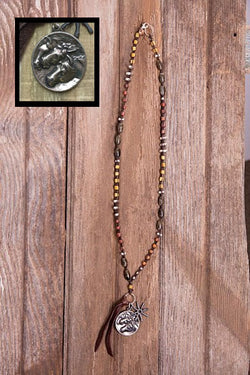 Multi-Stone Horse & Spur Necklace
