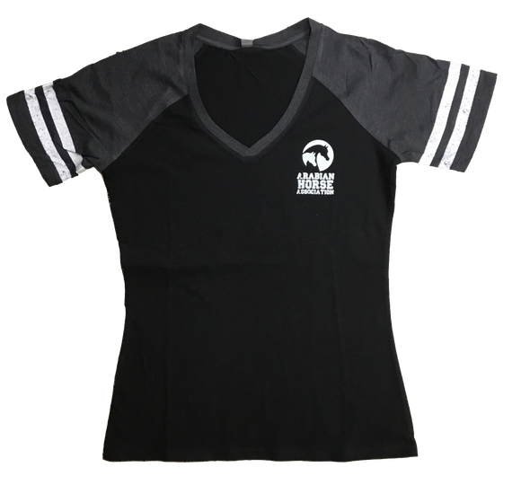 Ladies AHA Pocket Logo Black Charcoal Game Tee SS