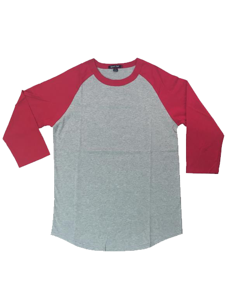Heather and Red Baseball Tee