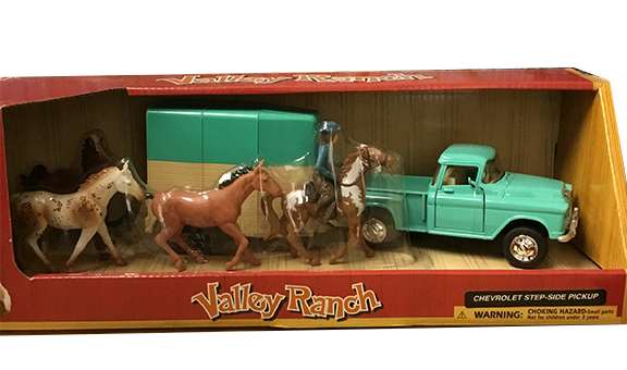 Valley Ranch Teal Truck Trailer Horses Set