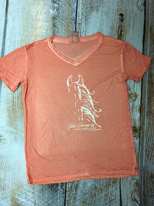 Ladies Coral Join the Journey Horse Silhouette Shirt