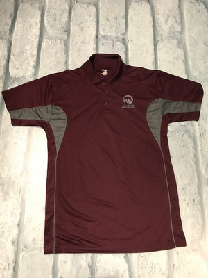 AHA Mens Drive Sport Polo Maroon and Graphite