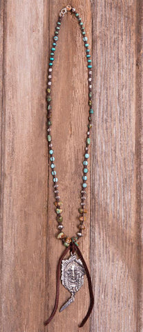 Leather Turquoise Indian Necklace