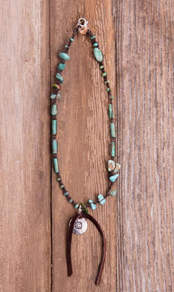 Short Leather Turquoise Charm Necklace