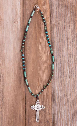 Short Leather Turquoise Cross Necklace