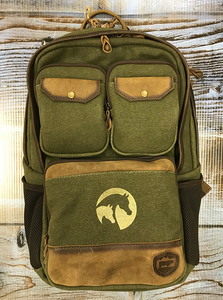 AHA Military Green Canvas Backpack Leather Trim