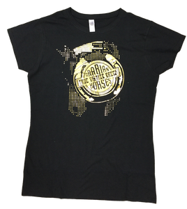 Ladies Fitted Black Shirt/ GOLD FOIL True vintage Breed Dot Logo