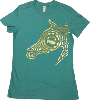 Ladies Fitted Teal Tee with the GOLD FOIL Half Maze AHA Logo