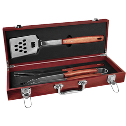 AHA 3 PIECE BBQ SET IN ROSEWOOD FINISH Box CASE