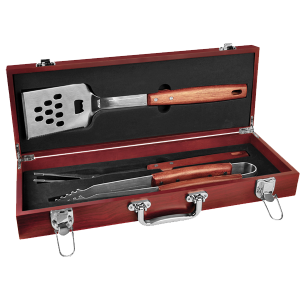 AHA 3 PIECE BBQ SET IN ROSEWOOD FINISH CASE