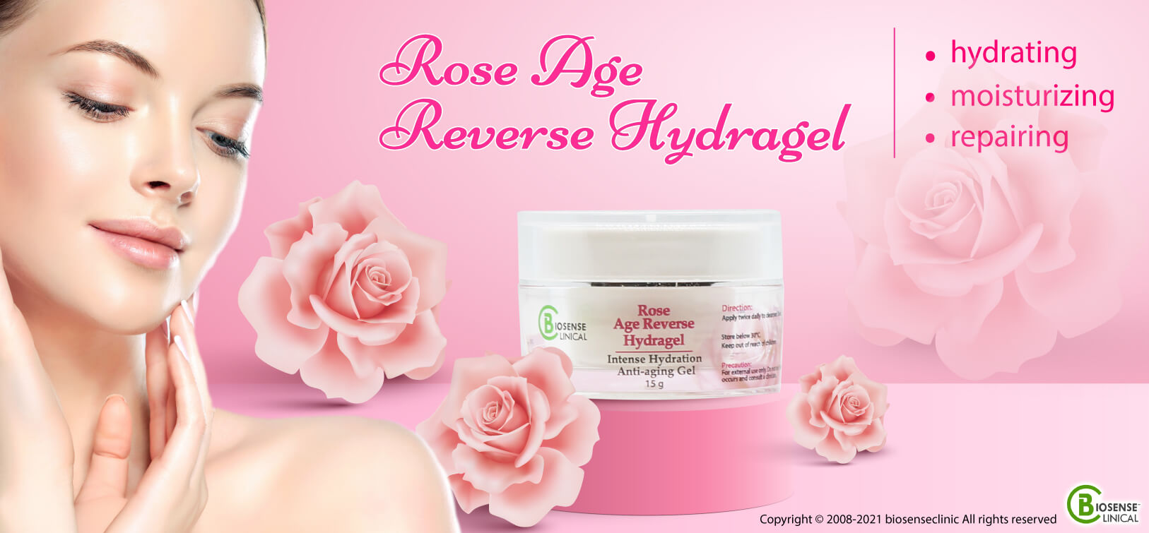 BiosenseClinical Professional Custom Compound Rose Age Reverse HydraGel banner