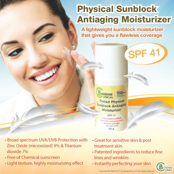 BiosenseClinical Physical Sunblock Antiaging Moisturizer mobile banner