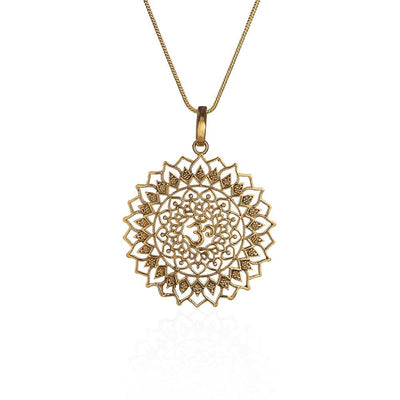 Om pure brass necklace