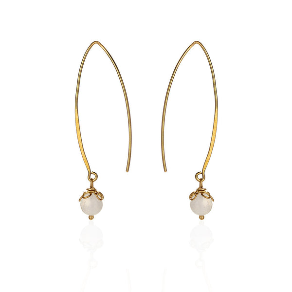 Dewdrop pure brass earring with moonstone