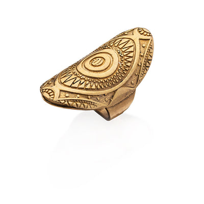 Aztec pure brass ring