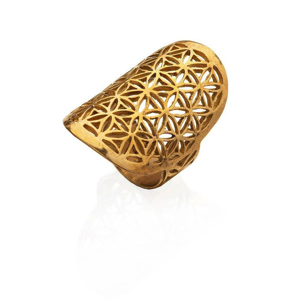 Flower of Life pure brass ring