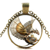 Vintage Steampunk Dragon Glass Necklace
