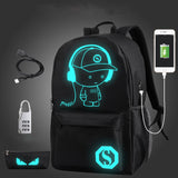 Anti-Theft Backpack Luminous USB Charging Coded Lock Travel Bag - My Passion Street
