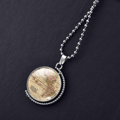 Rotatable Double-Sided Map Necklace