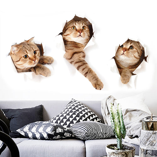 3D Cat Hole Wall Stickers