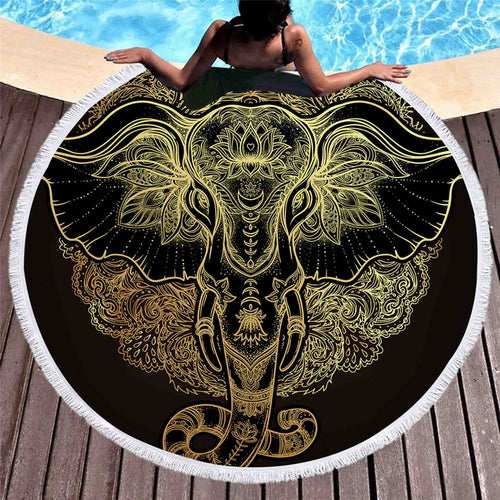 3D Majestic Golden Elephant Tapestry - My Passion Street