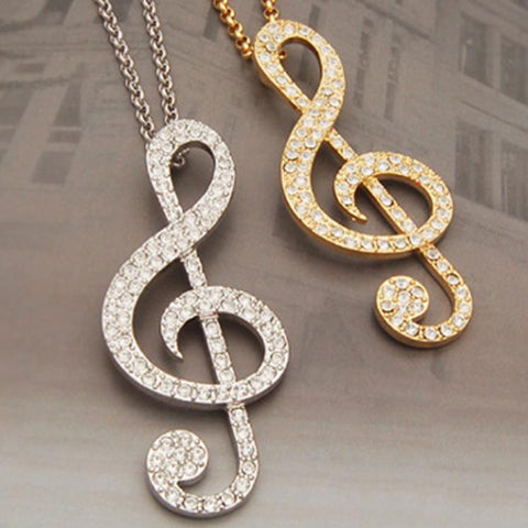 Rhinestone Music Note Necklace