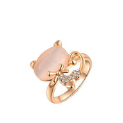 18K Gold Silver Opal Ring For Cat Lovers - My Passion Street