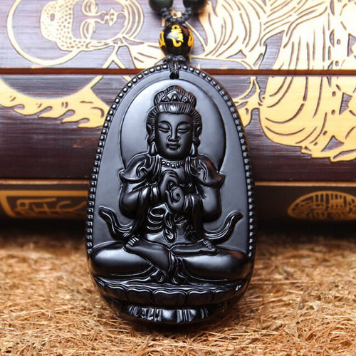 Black Obsidian Carved Buddha Amulet