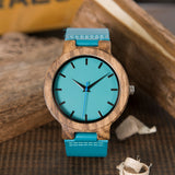 Blue Leather Bamboo Wooden Watch