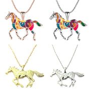 Silver Gold Horse Pendant Necklaces - My Passion Street
