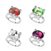 Ladies Fashion Crystal Cat Ring - My Passion Street